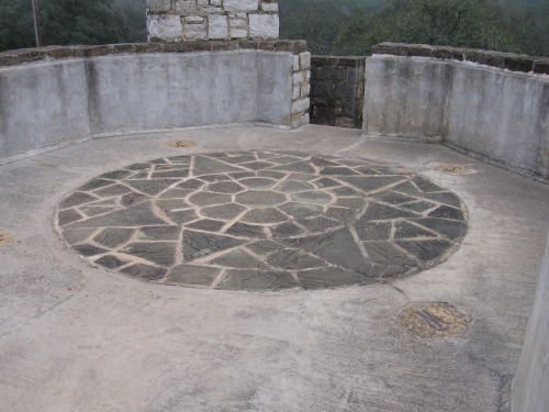 Towertop compass design at a Texas Hill Country state park